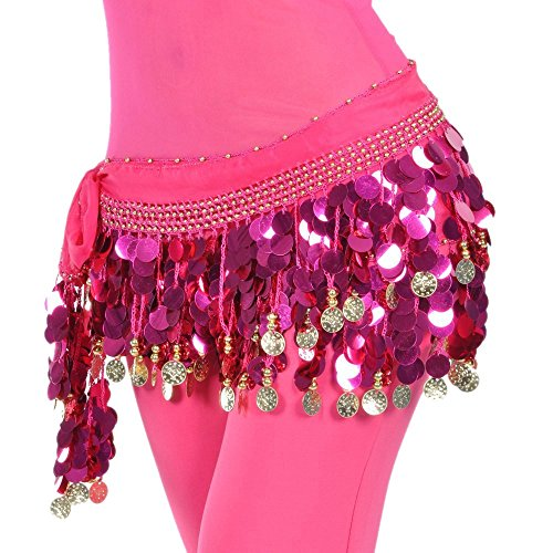 [DQdq Women's Belly Dance Chiffon Hip Scarf Waist Chain with Coins Rose Red] (Made To Measure Belly Dance Costumes)