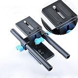 pangshi® 15mm Rail Rod Support System Baseplate Mount for DSLR Follow Focus Rig 5D2 5D3