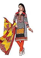Aarti Apparels Women's Cotton Unstitched Dress Material_BeautyQueen-9_Orange and Yellow