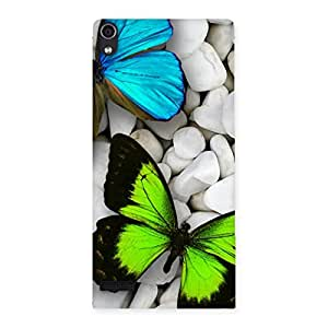 Cute Butterflies Green Blue Back Case Cover for Ascend P6