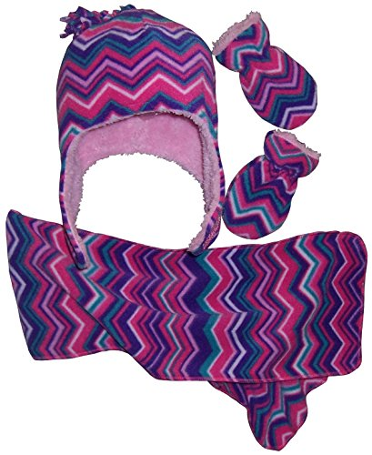 N'Ice Caps Girls Chevron Soft Sherpa Lined Hat/Scarf/Mitten Set (12-18 Months, Infant - Purple/Fuchsia/Pink/Turq/White)