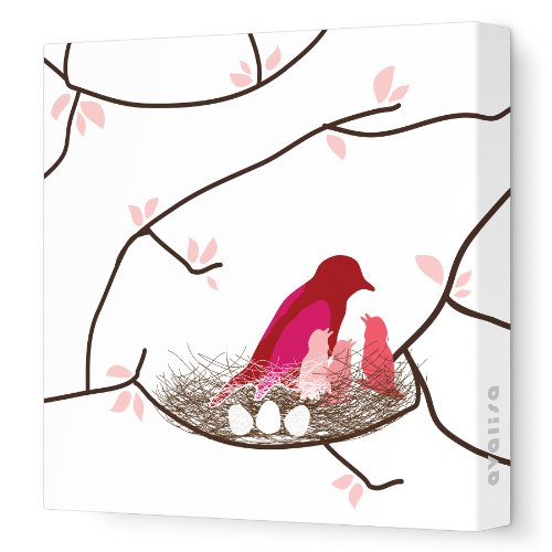 "Avalisa Stretched Canvas Nursery Wall Art, Bird Nest, White Coral, 28"" X 28"""