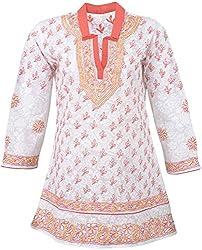 ALMAS Lucknow Chikan Regular Fit Kurti (White and Orange)