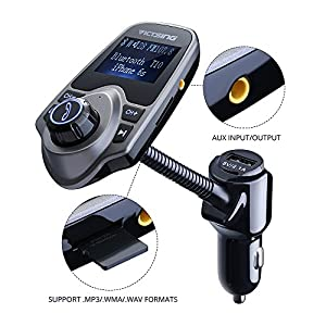 VicTsing Wireless In-Car Bluetooth FM Transmitter Radio Adapter Car Kit Supports TF/Micro SD Card USB Car Charger With 1.44 Inch Display