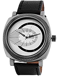 Watch Me White Dial Black Leather Watch For Men And Boys WMAL-080-W