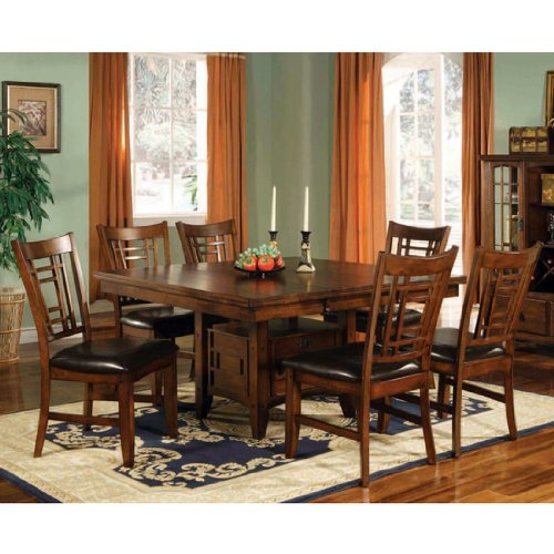Buy Low Price Lifestyle California Eureka Dining Table with Storage in Distressed Dark Pecan (16-777N)