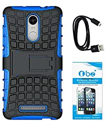 TBZ Hard Grip Rubberized Kickstand Back Cover Case for Xiaomi Redmi Note 3 with Data Cable and Tempered Screen Guard -Blue