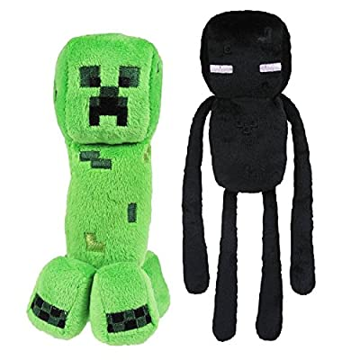 """Minecraft Overworld 7"""" Creeper & 10"""" Enderman Plush SET of 2 from Mojiang"""