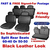 Full Set of Leather Look Car Seat Covers in Black with 2 Front , 2 rear & 5 Head Rest Coversby Streetwize