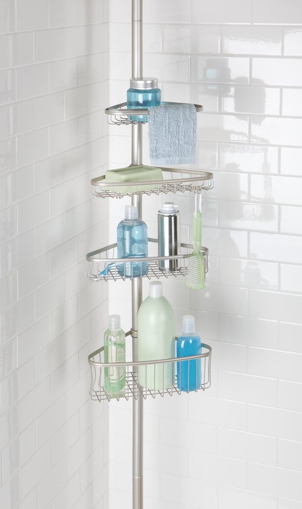 mDesign Bathroom Shower 4-Tier Constant Tension Caddy - Satin
