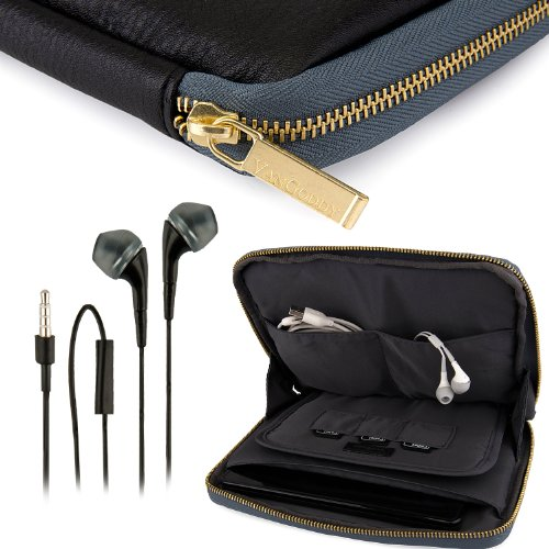 Vangoddy Irista Cover - Black Coal Grey City Pro Pu Faux Leather Pouch Sleeve Fits Samsung Galaxy Tab Pro 8.4 Tablet + Black Hands-Free Earphones Headphones W/ Microphone