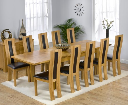 Solid Oak Extending 180cm-270cm Dining Table & 8 Brown Chairs (NORMANDY/TORONTO)