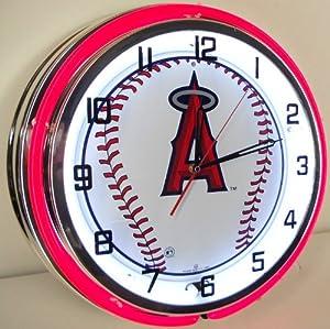 LOS ANGELES LA ANGELS BASEBALL 18 NEON LIGHT WALL CLOCK TEAM ANAHEIM STADIUM LOGO...