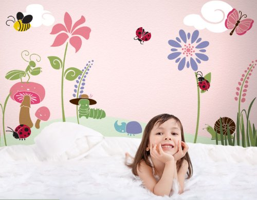 Girl's Room Wall Decor - Bugs & Blossoms Wall Mural Stencil Kit