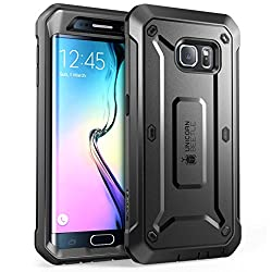 Galaxy S6 Edge Case, SUPCASE Full-body Rugged Holster Case WITH OUT Built-in Screen Protector for Samsung Galaxy S6 Edge (2015 Release), Unicorn Beetle PRO Series - Retail Package (Black/Black)
