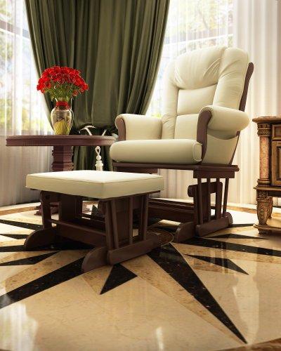 Buy Bargain Naomi Home Deluxe Sleigh Glider and Ottoman Set Espresso/Sand