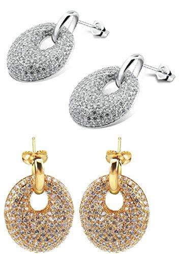 alimab Orecchini da donna placcato oro 18K orecchini a cerchio ovale, placcato oro, colore: oro, cod. ABMMNNHHER389