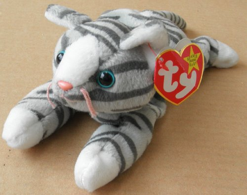 TY Beanie Babies Prance the Cat Stuffed Animal Plush Toy - 8 inches long - Gray with Dark Gray Stripes - 1