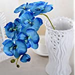 1PC Artificial Simulation Butterfly Orchid Flower Plant Wedding Party Home Decor (Blue)