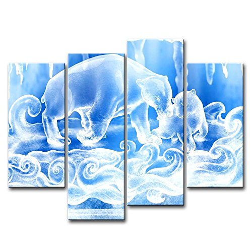 Blue 4 Piece Wall Art Painting White Bluesnow Bears Figure Pictures Prints On Canvas Animal The Picture Decor Oil For Home Modern Decoration Print