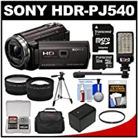 Sony Handycam HDR-PJ540 32GB 1080p HD Video Camera Camcorder with Projector with 32GB Card + Battery + Case + LED Light + Tripod + Tele/Wide Lens Kit by Sony