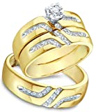 10k Yellow and White 2 Two Tone Gold Mens and Ladies Couple His & Hers Trio 3 Three Ring Bridal Matching Engagement Wedding Ring Band Set – Round Diamonds – Solitaire Center Setting (1/4 cttw, H Color, I1 Clarity)