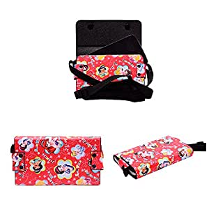 Colorkart Printed Mobile Pouch Handbag With Adjustable Strip For Lenovo Z90a40 Mobile Phone (Red)