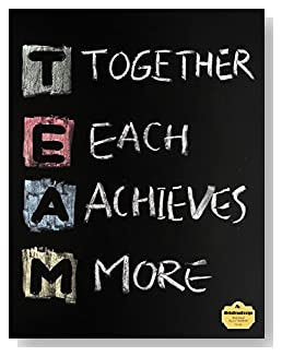T.E.A.M. Notebook - Perfect for a co-worker gift or as part of a seminar packet. TEAM, Together Each Achieves More, written in colored chalk on a chalkboard background ties the theme together on the cover of this wide ruled notebook.