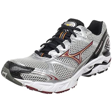 Mizuno Men's Wave Rider 14 Running Shoe,Silver/Biking Red-Anthracite,7.5 M US