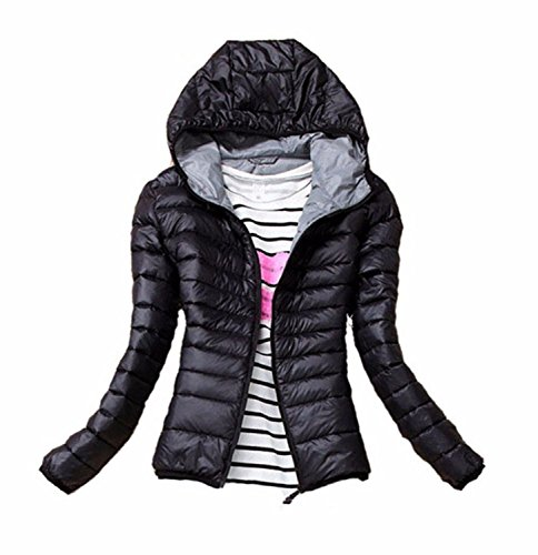 Dachou donne cappotto caldo di inverno signore di colore sottile caramelle piumini Bella sottile Slim (S, Nero)
