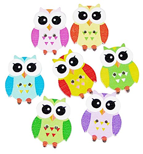 """Hipgirl Fabric Covered Buttons And Wood Buttons, Assorted Colors. (Ship From Usa--Pack Of 35G 5/8""""X1"""" About 50 Pcs - Mixed Colours Of Owl Various Shaped Mixed Buttons For Sewing And Crafting)"""