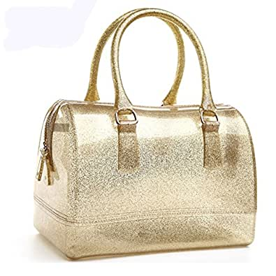Women Glitter Jelly Candy Color Tote Bag Satchel Hand Bag