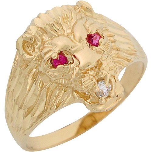 10k-Yellow-Gold-Simulated-Ruby-White-CZ-Lion-Head-Mens-Ring