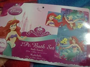 Disney Ariel The Little Mermaid Bath Towel & Wash Cloth Set