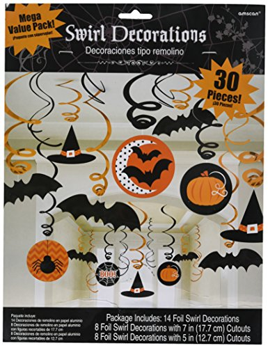 Amscan New Age Scare Halloween Party Witches & Bats Swirl Ceiling Hanging Decoration (30 Piece), One Size, Multicolor