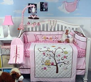 SOHO Cherry Blossom Crib Nursery Bedding Set 14 pcs