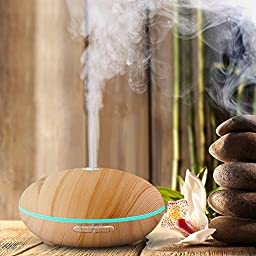Bambüsi by Belmint Whisper-Quiet Ultrasonic Essential Oil Diffuser & Cool Mist Humidifier | Features 7-Color LED Mood Ring