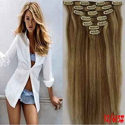 Clip in Remy Human Hair Extensions 12/613# Light Brown with Bleach Blonde 7pcs 70g