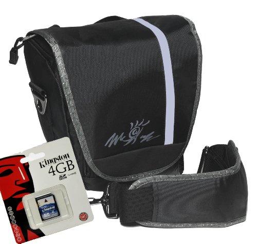 Foto-Tasche universal Kameratasche Typ Miami Colt antrazit Set mit 4 GB SD Karte für Canon EOS 600D 70D 1200D 1100D - Nikon D7100 D7000 D5300 D5200 D5100 D3300 D3200 D3100 D610 D600 - Sony Alpha 7 3000 A58 A57 A37 NEX 6000 5000 und viele andere (siehe Beschreibung)
