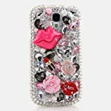 BlingAngels® 3D Bling Luxury Swarovski Crystals Diamond Case Cover Faceplate Sparke Design for Samsung Galaxy S4 S IV i9500 fits Verizon, AT&T, T-mobile, Sprint and other Carriers (100% Handcrafted by BlingAngels with Carrying Pouch) (Pink Lips with Clear Crystals Background)