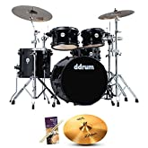 ddrum JMR522 MB Journeyman Player Midnight Black 5-pc Drum Set with Zildjian Crash Ride, Drumsticks & Survival Guide