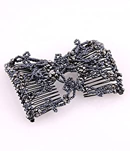 "Assorted Acryclic & Glass Bead Hair Comb / Stretch / 3.5"" W / Color: Grey Mixed"