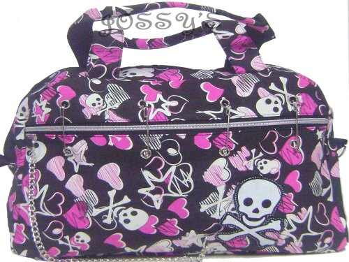 Skull Shoulder Handbag Black with white/pink Hearts
