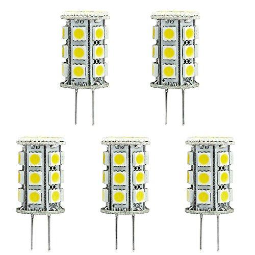 HERO-LED, T3-Tower Grundlage Bi-Pin JC G4 LED Halogen Xenon Ersatz-AC.DC Glühlampe 12 V oder 24 V DC, Schreibtischlampen, Pendelleuchte, Puck-Lichter, mit Schalter Lichterkette, Unterschrank-Leuchten, Marine, Boote, Yachten, Accent, Display, Querformat Allgemeine und Beleuchtung, 24 SMD LEDs, 40-45W, Ersatzteil, 5 Stück, Warmweiß 3000k, G4, 4.80 wattsW 12.00 voltsV