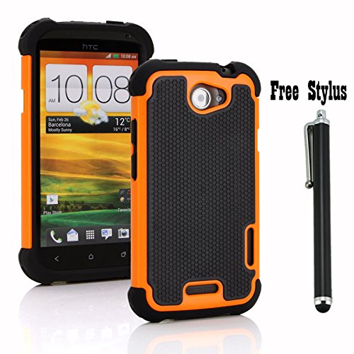 Anti-shock and Bump Dual Layer Case for AT&T HTC ONE X , HTC ONE X + LTE ONLY - Soft and Hard Case Cover Skin + Stylus Pen (Anti-Shock&Bump - Black/Orange) (The Little Penguin Inc compare prices)