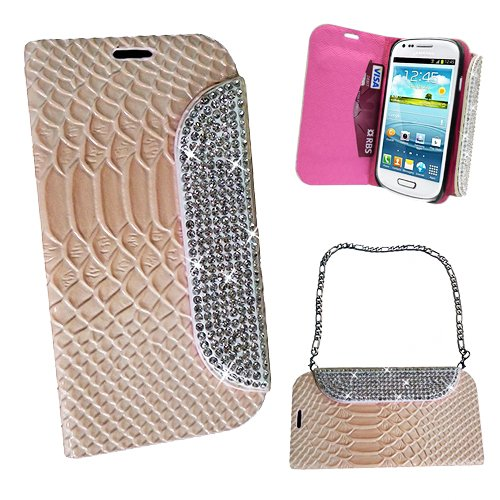 Xtra-Funky Exclusive Faux Leather Crocodile / Snake Print Flip Handbag Purse Wallet Style Case With Embedded Crystals On The Magnetic Closing Catch For Samsung Galaxy S4 (I9500 - I9505) - Creamy Beige
