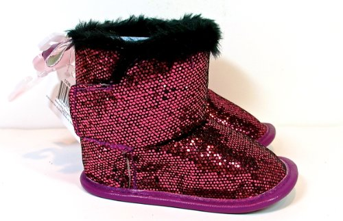 Jo-ann's Holiday Sequined Baby Boots,pink,faux Fur,(6-9m)