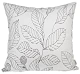 "BLUETTEK Leaf Pattern Canvas 18"" X 18"" canvas Decorative Throw Pillow Cover Cushion Case Pillow Case (White)"