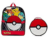 Pokemon Large Backpack and Pokeball Insulated Lunchbox Lunch Bag (Colors may vary)