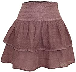 Attuendo Women's Embroidered Layered 'Connie' Cotton Blend Voile Skater Skirt (Small, Marsala)